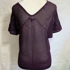 Express Sweater Glitter Metallic Purple Open Knit